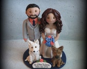 Wedding Cake Topper, Custom, Personalized, Polymer Clay, Bride and Groom, Two Pets, Date Plaque, Wedding/Anniversary Keepsake