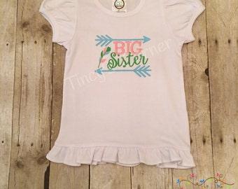 BIG Sister Arrow Embroidered Ruffle Shirt