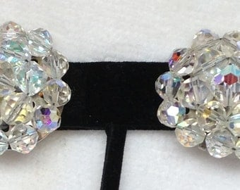 Clip Earrings - Aurora Borealis Crystals