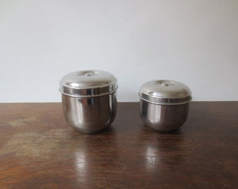 Vintage Nesting Shiny Bright Small Chrome Canister Set