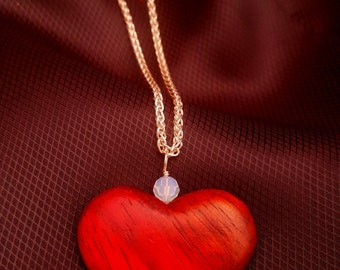 Padauk Wood Heart Pendant Necklace - 18 Inches