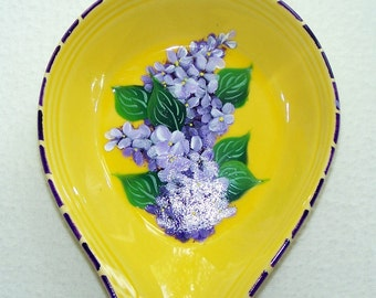 Yellow Spoon Rest with hand painted purple Lilacs