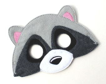 Kids Raccoon Mask, Costume, Felt Mask, Kids Face Mask, Animal Mask, Halloween Costume, Pretend Play, Dress Up, Party Favors, Animal, Costume