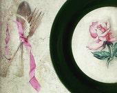 Vintage Cottage China Plates. Homer laughlin. Green Pink Rose. Set of 4. Rustic Farmhouse. Wedding Cottage Romance.