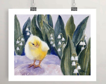 Baby Chick, Chicken Animal Art Print, Watercolor Artwork, Wall Decor for Girls Room, Nursery Wall Art by Janet Zeh