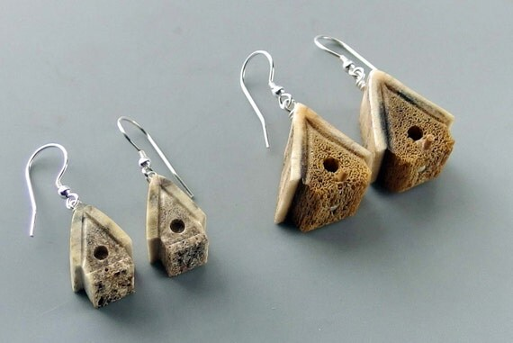 Birdhouse Earrings - Hand Carved Caribou Antler