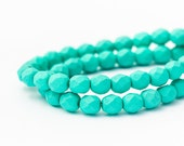 Fire Polished Faceted Czech Glass, Saturated Teal, Round Spacer Beads, Matte Opaque (6mm) x 25