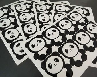 Panda Sticker - Animal Panda Stickers Black White Pandas Label Sticker Seal Envelope Stickers Party Favor