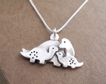Mother and Two Baby Dinosaurs Necklace, Mom and Two Kids, Fine Silver, Sterling Silver Chain, Made To Order