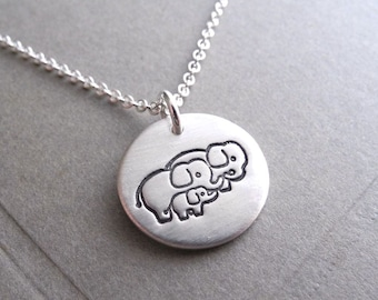 Small Elephant Family Necklace, Mom, Dad, Baby, Two Moms, Two Dads, New Family, Fine Silver, Sterling Silver Chain, Made To Order