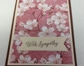 Floral Sympathy Card, Feminine Sympathy Card, With Sympathy Card, Cherry Blossom Sympathy