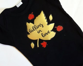 Fall Leaves Onesie. Funny Baby Onesie. Free Shipping! Black Creeper. Falling in Love Bodysuit. Autumn Baby. Gold Red Leaf. Falling Leaves.