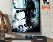 Star Wars Canvas - Clone Trooper - Star Wars Art, large Canvas Art Print, Star Wars Canvas Art, fan art illustration, star wars gift