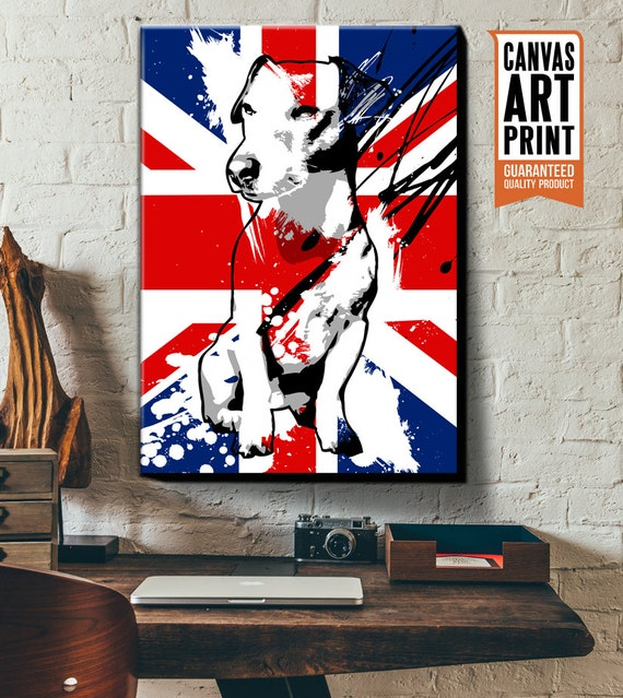 Jack Russell Terrier, Dog Art, Pop Art, Print in red, white and blue, Poster size, Canvas Art Print available in 18x24 or 24x36