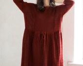 Loose Fit Women Dress Chestnut Linen Tunic Knitted Auburn Tank Oversized Women Shirt, Custom Size and Color