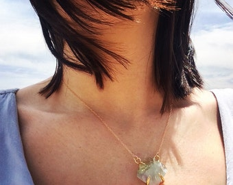 Gold plated Faceted Gemstone Necklace