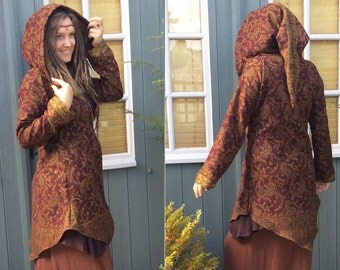 RESERVED for Arendi ... Druid Paisley Jacket, Pixie Hooded Jacket
