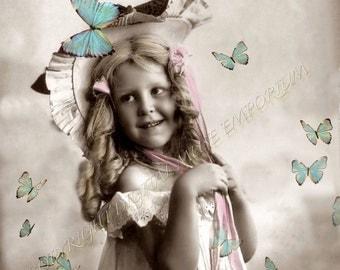 Instant Download Vintage Photograph - Fluttery Joy