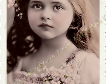 Instant Download Vintage Photograph - Brown Eyed Beauty