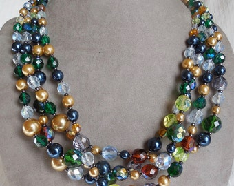 JOAN RIVERS Multi Strand Glass Crystal Bead Necklace