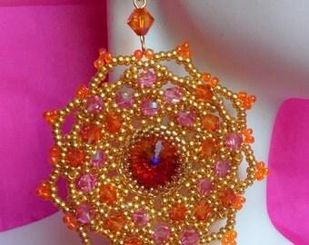 Pink and Orange Beaded Motif Earrings