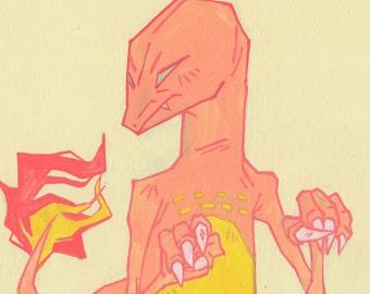 Charmander - 9 x 12 in. art print // original pokemon go colorful poster wall art