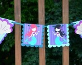 Custom Mermaid Banner MADE TO ORDER Under the Sea Garland Mermaid Party Decoration Little Mermaid Birthday Baby Shower Purple Aqua Sea Green