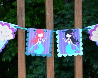 READY TO SHIP Mermaid Banner  Under the Sea Garland Mermaid Party Decoration Little Mermaid Birthday Mermaid Shower Purple Aqua Sea Green