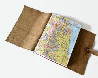 Personalized Travel Journal Leather, Chicago Map Journal, Travel Map Book, Travel Notebook, Adventure Book, Illinois Notebook, Choc 6x8