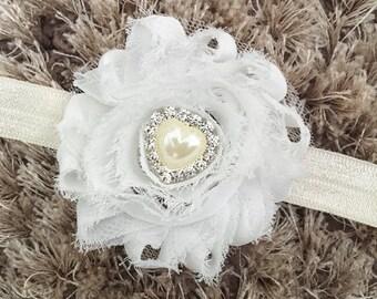 White Chiffon Headband, Crystal Heart Shabby Chic Newborn Headband, Vintage Style Flower Baby Headband, Pearl Headband Newborn Prop Gift Cij