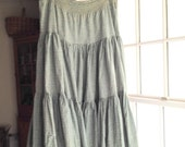 Vintage LAURA ASHLEY tiered prairie skirt, 1980s sage green and cream, 100 percent cotton, size Medium (fits US 14-16) made in Great Britain