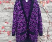 Christian Dior Cardigan Sweater, Wool Sweater, Long Purple Sweater, Grandpa Sweater, Christian Dior, Black Purple Sweater Jacker, Designer