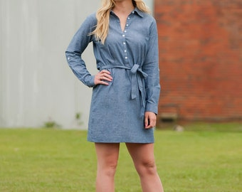 Monogrammed Chambry Shirt Dress- Monogrammed Dress - Chambry Dress