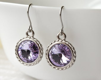 Crystal Earrings - Gift for Her - Purple Earrings - Round Earrings - February Birthstone Colour - UK Earrings