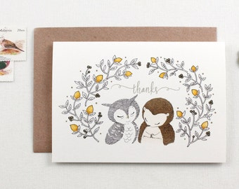 Thanks, Owl & Hedgehog - Greeting Card