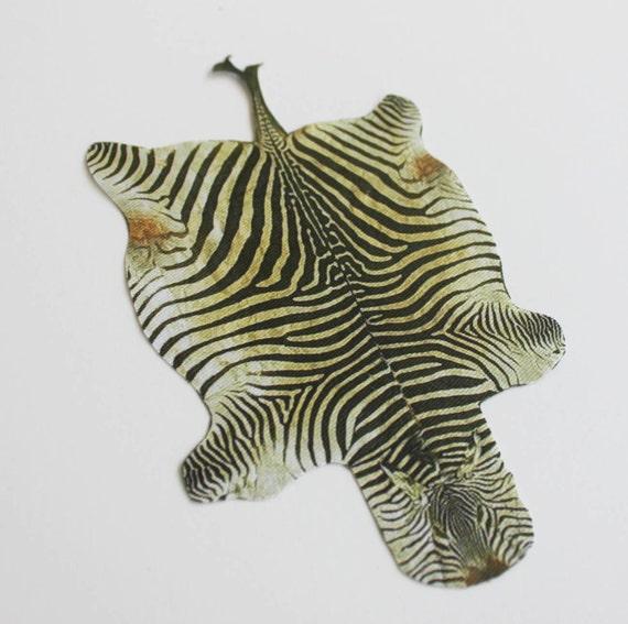 Miniature Faux Zebra Hide Rug For Dollhouse In 1:12 Scale