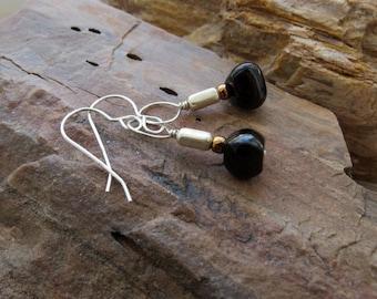 black onyx earrings . ENERGY BITS . sterling silver earrings . classic black earrings . mixed metal earrings . stone earrings . short