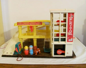 Vintage Fisher Price Little People Garage, 2 people, dog - 1970 - Christmas in July Sale