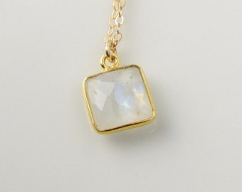 Square Rainbow Moonstone Pendant Gold Necklace, 14K Gold Bezel, 16 Inch Chain Handmade Necklace OOAK Crystal 450069