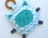 Jack the Kitty Cat, Baby Toy, Crinkle Toy, Organic Wood Teething Ring, Great Baby Gift