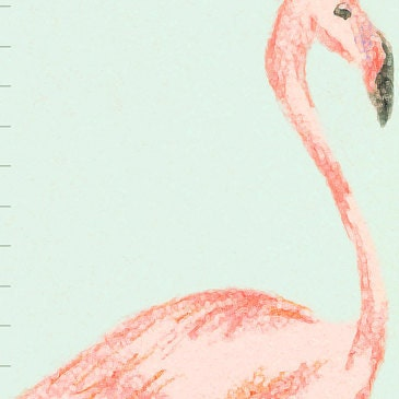 Custom/ Personalized Mint and Pink Flamingo canvas growth chart - perfect for baby girl's nursery or big girl room