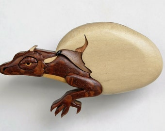 Dragon Hatchling Wooden Magnet Fantasy Intarsia Wood Carving Mythical Ornament