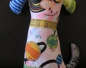 Unique Dog Art Doll, OOAK Original Design, Textile Mixed Media Art Doll, Colorful Hand painted printed fabrics, Puppy Dog Lover gift, HAFAIR