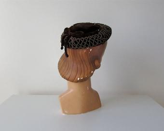 SALE vintage 1950s hat / velvet hat