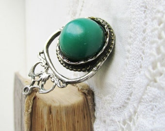 Vintage Georgian or Victorian Revival Watch Fob Pendant with Green Resin Cabochons circa 1970