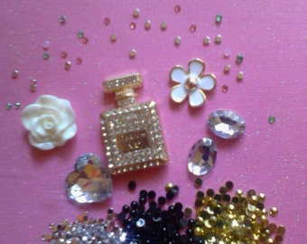 Kawaii fancy decoden deco diy cabochon kit with perfume bottle  #432---USA seller
