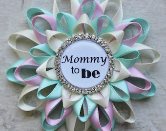 Gender Neutral Baby Shower Ideas, Mommy to Be Pin, Gender Reveal Party Decorations, Grandma to Be Pin, New Mommy Gift, Pink, Aqua, Ivory