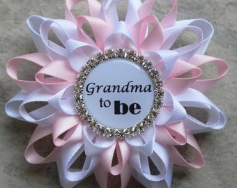 Gift for New Mom, Gift for New Grandma, Baby Shower Decorations, Pink, White, Grandma to Be Pin, Mommy to Be, Baby Girl Shower Decor