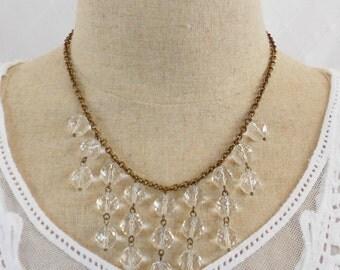 Crystal Necklace, Bib Necklace, Art Deco Necklace, Drop Necklace, Beaded Necklace, Crystal Clear Necklace, Clear Drop Necklace