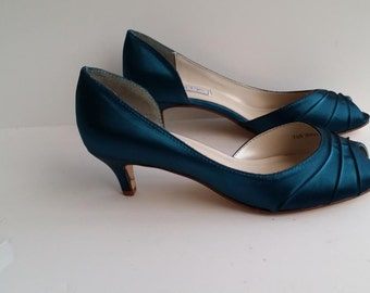 Teal Wedding Shoes Teal Bridal Shoes Teal Bridesmaid Shoes  PICK FROM 100 COLORS Different Heel Heights